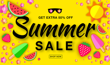 Summer sale template horizontal flat banner, hand drawn typographic lettering on bright yellow background with flat paper sun, watermelon, ice cream, strawberry, flower, vector summer design elements. Illustration