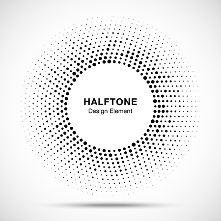 vector raster background: Black abstract vector circle frame halftone random dots logo emblem design element for technology, medical, treatment, cosmetic. Round border Icon using halftone circle dots raster texture.