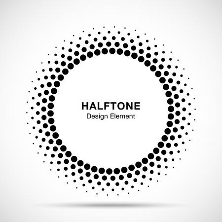 하프 톤 벡터 원 프레임 도트 엠 블 럼, 의료, 치료, 화장품에 대 한 디자인 요소. 하프 톤 원 도트 래스터 텍스처를 사용 하여 라운드 테두리 아이콘. 일러스트