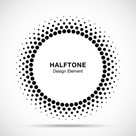 Halftone vector circle frame dots emblem, design element for medical, treatment, cosmetic. Round border Icon using halftone circle dots raster texture. Imagens - 82187111