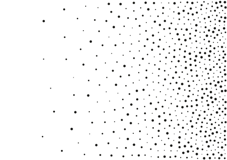 Abstract gradient halftone random dots background. A4 paper size, vector illustration, bw backdrop using halftone circle dots raster pattern texture. Иллюстрация