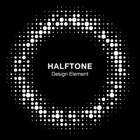Round border Icon using halftone circle dots raster texture.