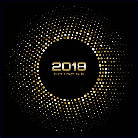 Vector  Happy New Year 2018 Card Background. Gold Bright Disco Lights Halftone Circle Frame. Golden Round border using halftone circle dots raster texture. Stock Photo