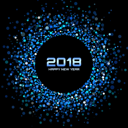 Vector  Happy New Year 2018 Card Background. Blue Bright Disco Lights Halftone Circle Frame. Round border using blue confetti circle dots texture.