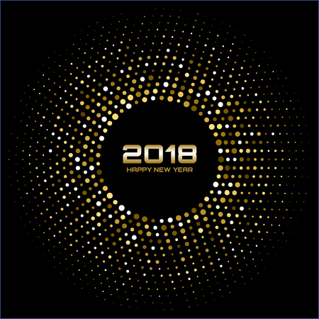 Vector  Happy New Year 2018 Card Background. Gold Bright Disco Lights Halftone Circle Frame. Golden Round border using halftone circle dots raster texture. Illustration