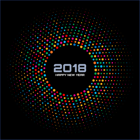 Bright Colorful Disco Lights Halftone Circle Frame on black design template for New Year.