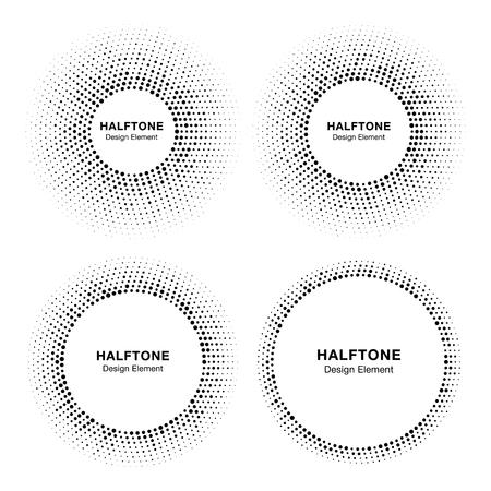 Set of Halftone circle frames with black abstract random dots