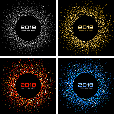 Vector  Happy New Year 2018 Card Background. Silver Light Disco Lights Halftone Circle Frame. Round border using red confetti circle dots texture.