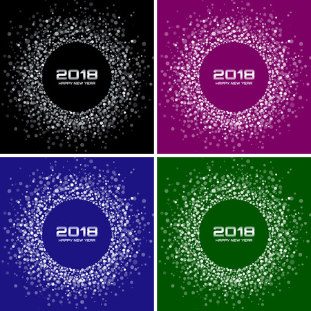 Happy New Year 2018 Card Set Vector Backgrounds. Bright Colorful Disco Lights Halftone Circle Frames. Round borders using violet, blue, green, grey confetti circle dots texture.