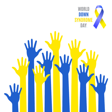 World Down Syndrome Day Poster. Blue  yellow hands symbol with ribbon icon isolated on white background. Vector illustration Vectores