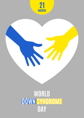 World Down Syndrome Day Poster. Blue  yellow hands with white heart sign isolated on gray background. Vector illustration