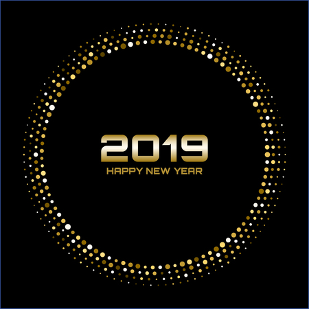 Happy New Year 2019. Gold bright disco lights. Halftone circle frame. Happy new year card background. Golden round border using halftone circle dots raster texture. Illustration