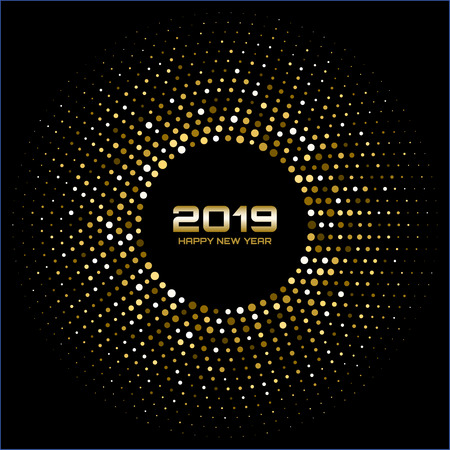 Happy New Year 2019. Gold bright disco lights. Halftone circle frame. Happy new year card background. Golden round border using halftone circle dots raster texture. Vectores
