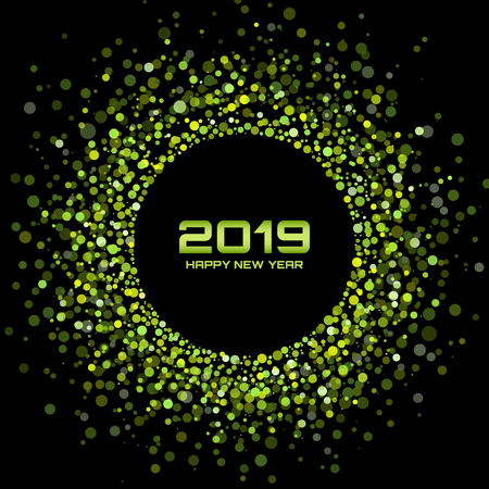 New Year 2019 card background.  Christmas holiday. Confetti circle holiday frame. Green party. Xmas shining round. Bright Disco Lights. Halftone Circle Frame. Vector illustration