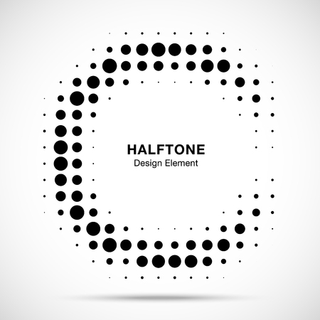 Halftone circular frame background. Circle border Icon using halftone circle dots raster texture. Half moon. Logo emblem design element for medical, treatment, cosmetic. Vector illustration.