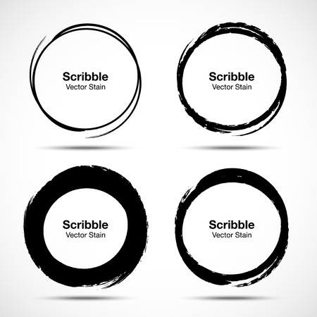 Hand drawn circle brush sketch set. Grunge doodle scribble round circles for message note mark design element. Brush circular smears. Banners, Insignias  Icons, Labels and Badges. Vector illus