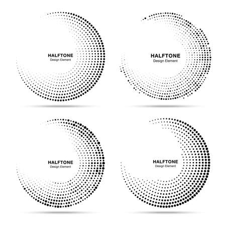 Halftone circular dotted frames set. Circle dots isolated on the white background. Logo design element for technology, medical, treatment. Round border using halftone circle dots texture. Vector