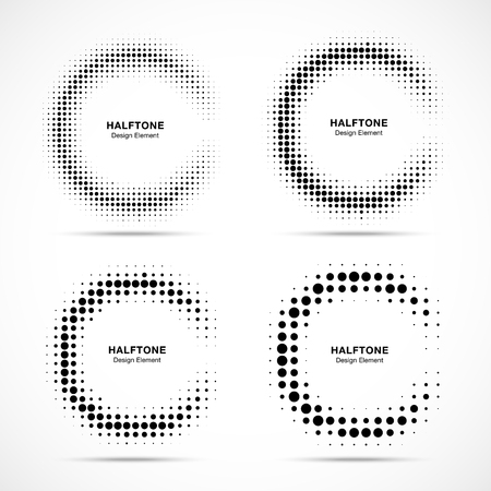 Halftone incomplete circle frame dots logo set isolated on white background. Circular part design element for treatment, technology. Half round border Icon using halftone circle dots texture. Vector
