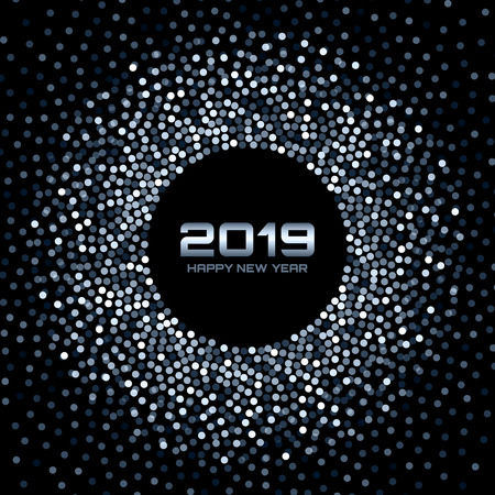 new year 2019 card background blue white glitter paper confetti glistening disco lights