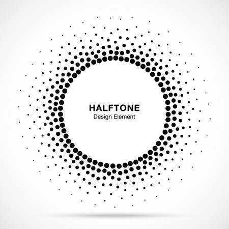 Halftone circular dotted frame. Circle decorative dots isolated on the white background. Logo design element for medical, treatment, cosmetic. Round border using halftone circle dots texture. Vector