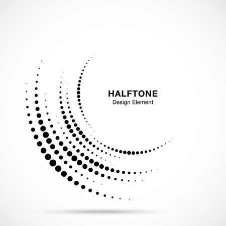 Halftone incomplete circle frame dots logo isolated on white background. Circular part design element for treatment, technology. Half round border Icon using halftone circle dots texture. Vector