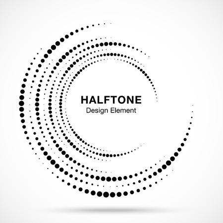 Logotipo de puntos de marco de círculo de vórtice de semitono aislado sobre fondo blanco. Elemento de diseño de remolino circular para tratamiento, tecnología. Icono de borde redondo incompleto con textura de puntos de círculo de semitono. Vector