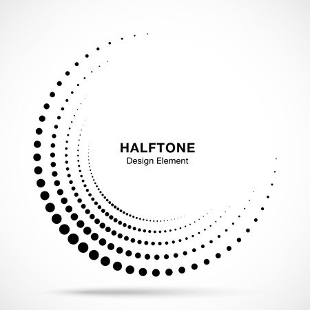Halftone incomplete circle frame dots logo isolated on white background. Circular part design element for treatment, technology. Half round border Icon using halftone circle dots texture. Vector Banque d'images - 112401718