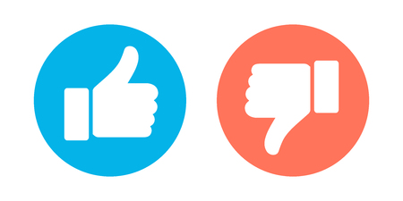 Do and Dont symbols. Thumbs up and thumbs down circle emblems. Like and dislike icons set. Vector illustration. Foto de archivo - 112397644