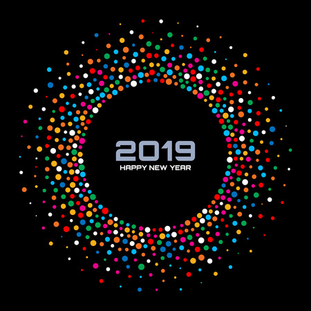 New Year 2019 Card Background. Bright Colorful Disco Lights Halftone Circle Frame isolated on black background. Confetti circle border using rainbow colors dots texture. Vector