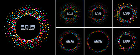 New Year 2019 Card Backgrounds set. Bright Colorful Disco Lights Halftone Circle Frame isolated on black background. Confetti circle border using rainbow colors dots texture. Vector collection Zdjęcie Seryjne - 116633585