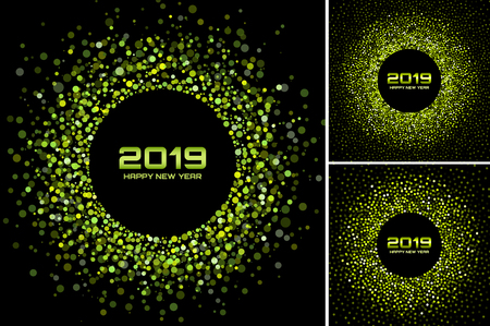 New Year 2019 Card Backgrounds set. Green glitter paper confetti. Glistening green disco lights. Glow circular frame using halftone circle confetti dots texture. Christmas green collection. Vector