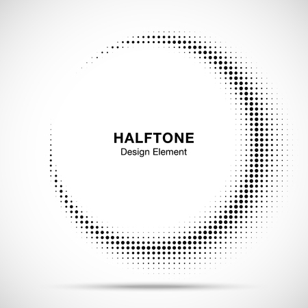 Halftone circle frame abstract dots emblem design element for medical, treatment, cosmetic. Half moon. Round border Icon using halftone circle dots raster texture. Vector illustration.