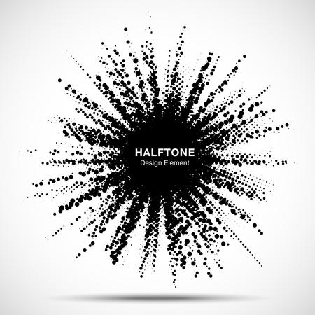 Halftone star frame. Grunge spot border using halftone circle dots raster texture. Sale design element. Boom shape.  Explosion template. Vector illustration.