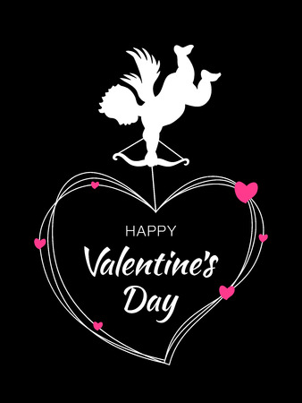 Cupid silhouette with bow and arrow on black background. Valentines Day design. White flying Angel. Amur symbol of love for Valentines Day, wedding invitation card. Heart frame with pink hearts.