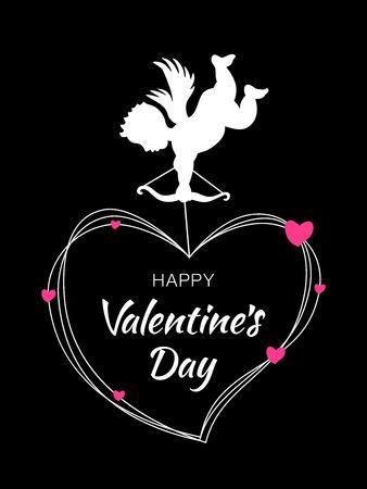 Sagoma di Cupido con arco e freccia su sfondo nero. Progettazione di San Valentino. Angelo bianco volante. Amur simbolo d'amore per San Valentino, carta di invito a nozze. Cornice cuore con cuori rosa. Vettoriali