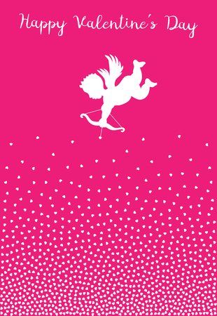 Cupid silhouette with bow and arrow heart on pink background.  Valentines Day design. White flying Angel. Amur symbol of love for Valentines Day, wedding invitation card. Hearts purple backdrop.
