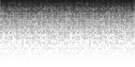 Halftone horizontal gradient pattern. Background using halftone random dots texture. Grunge backdrop. Technology design element. Vector Illustration