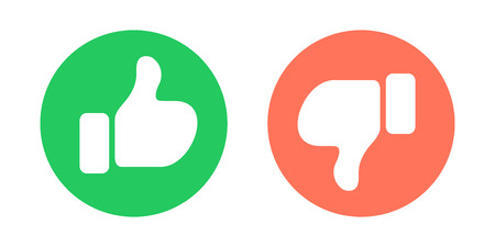 Do and Don't symbols. Thumbs up and thumbs down circle emblems. Vector illustration. Foto de archivo - 116633611
