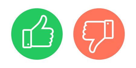 Do and Dont symbols. Thumbs up and thumbs down circle emblems. Vector illustration. Illustration