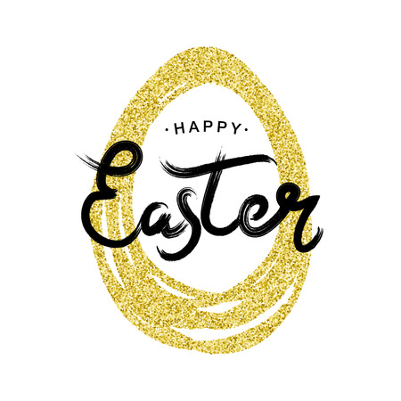 Happy Easter black typographic calligraphic lettering with golden glitter paschal egg frame on white background. Gold retro holiday easter badge. Religious holiday sign.