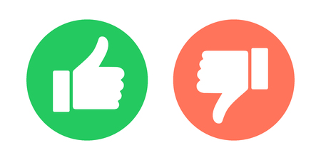 Do and Dont symbols. Thumbs up and thumbs down circle emblems. Vector illustration. Иллюстрация
