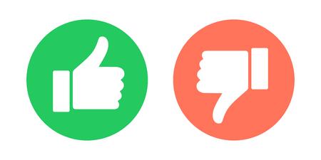Símbolos de hacer y no hacer. Pulgares arriba y pulgares abajo emblemas de círculo. Ilustración de vector. Ilustración de vector