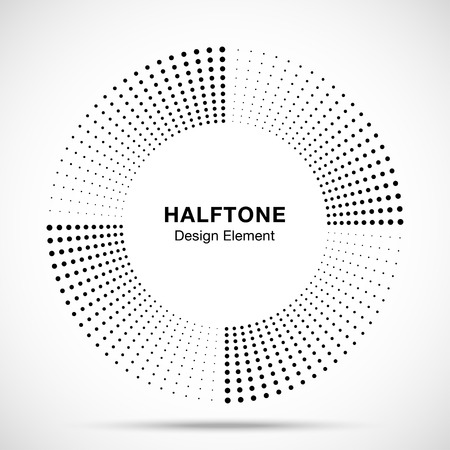 Halftone music circle frame abstract dots emblem design element. Half tone circular icon. Disc musical insignia. Round border using halftone circle dots raster texture. Vector illustration.