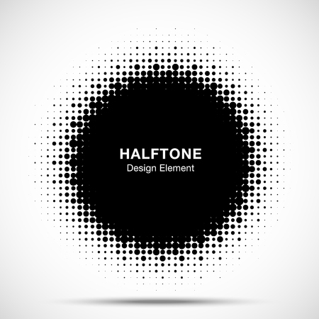 Halftone circle frame abstract dots emblem design element. Half tone circular icon. Grunge round border using halftone circle dots raster texture. Vector illustration. Иллюстрация