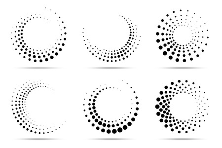 Halftone circular dotted frames set. Circle dots isolated on the white background. design element for medical, treatment, cosmetic. Round border using halftone circle dots texture. Vector