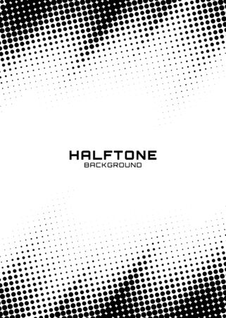 Halftone dots gradient pattern texture vertical background. Frame using halftone circle zigzag grunge pattern for design of posters, flyers, brochures, covers. Vector zigzag spotted illustration. Foto de archivo - 130011091