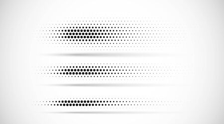 Set of halftone dots gradient pattern texture isolated on white background. Straight dotted spots using halftone circle dot raster texture. Vector blot half tone collection. Divider lines. Stock Vector - 130011092
