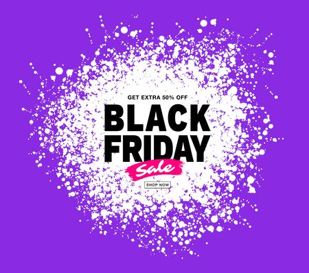 Black Friday sale banner. Purple color background. Splash white circle blots frame for sales and discounts. Template design. Drops grunge texture. Vector illustration Illustration