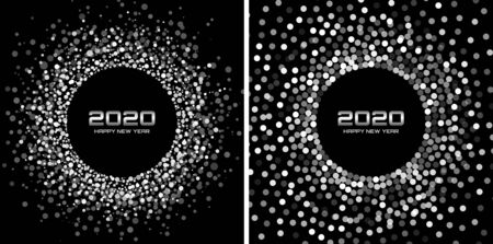 New Year 2020 night background party set. Greeting cards. Silver glitter paper confetti. Glistening silvery festive lights. Glowing circle frame happy new year wishes. Christmas collection. Vector