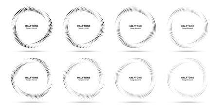 Ensemble circulaire de cadre en pointillé de cercle de demi-teinte. Élément de conception d'emblème de logo de points abstraits. Icône de bordure ronde utilisant la texture de point de cercle de demi-teinte. Motif de fond circulaire demi-teinte. Vecteur.
